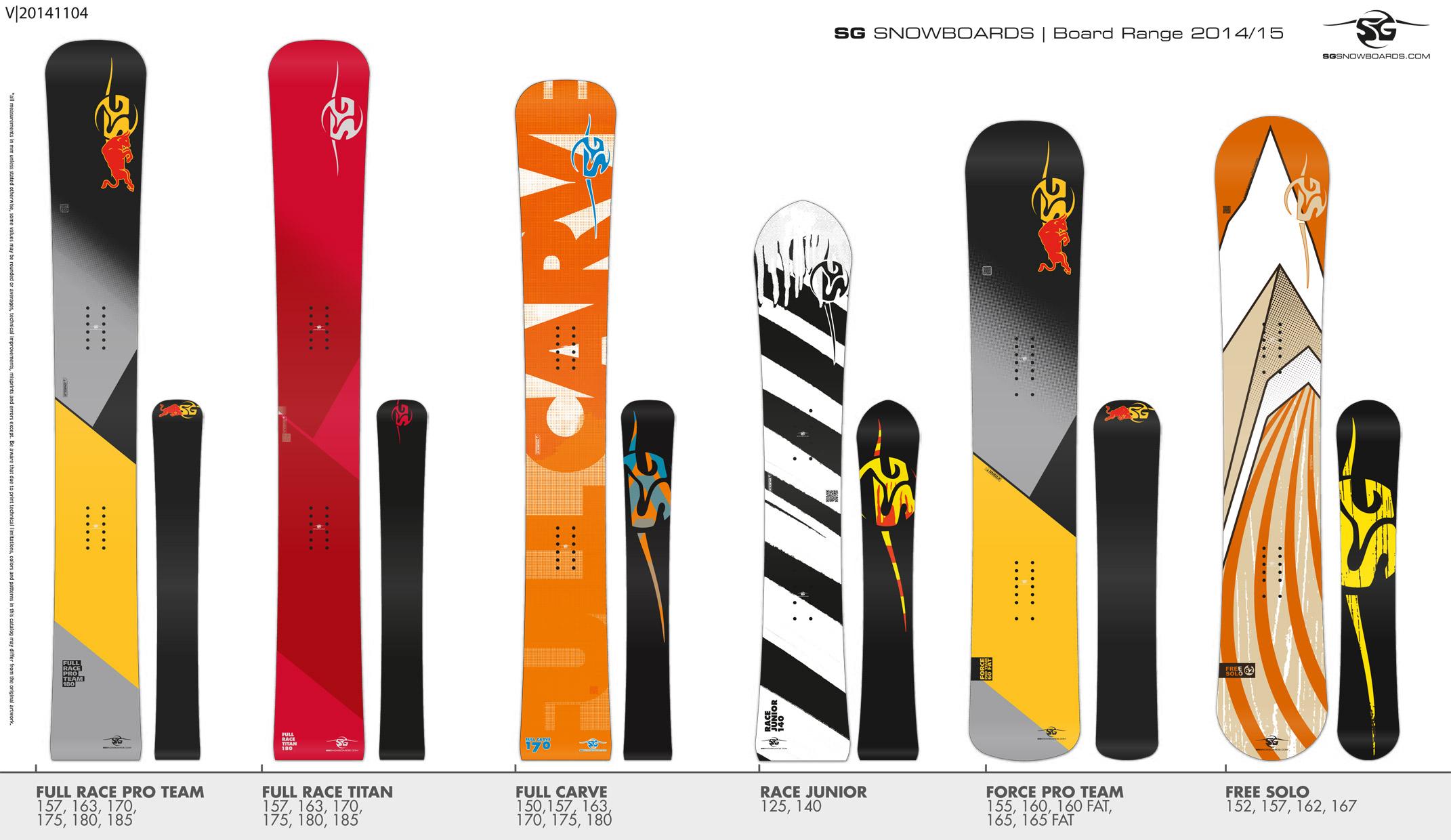 SG SNOWBOARDS Board Range 2014-15