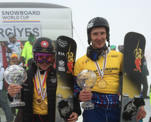 SG SNOWBOARDS Ester Ledecka Andrej Sobolev PGS Crystal Globe 2015-16 by SG Snowboards