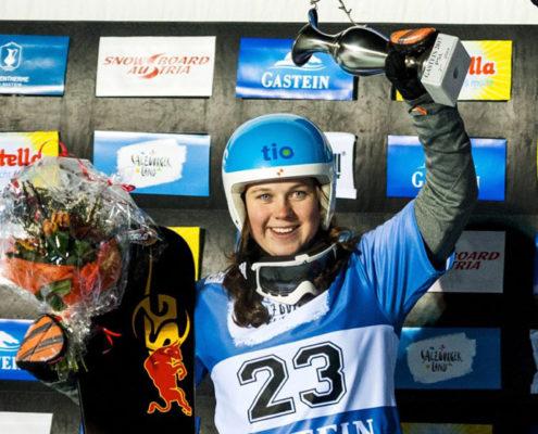 FIS Snowboard World Cup - Bad Gastein AUT - PSL - Women's podium with 2nd DEKKER Michelle NED, 1st  ULBING Daniela AUT, 3rd SCHOEFFMANN S. AUT © Miha Matavz